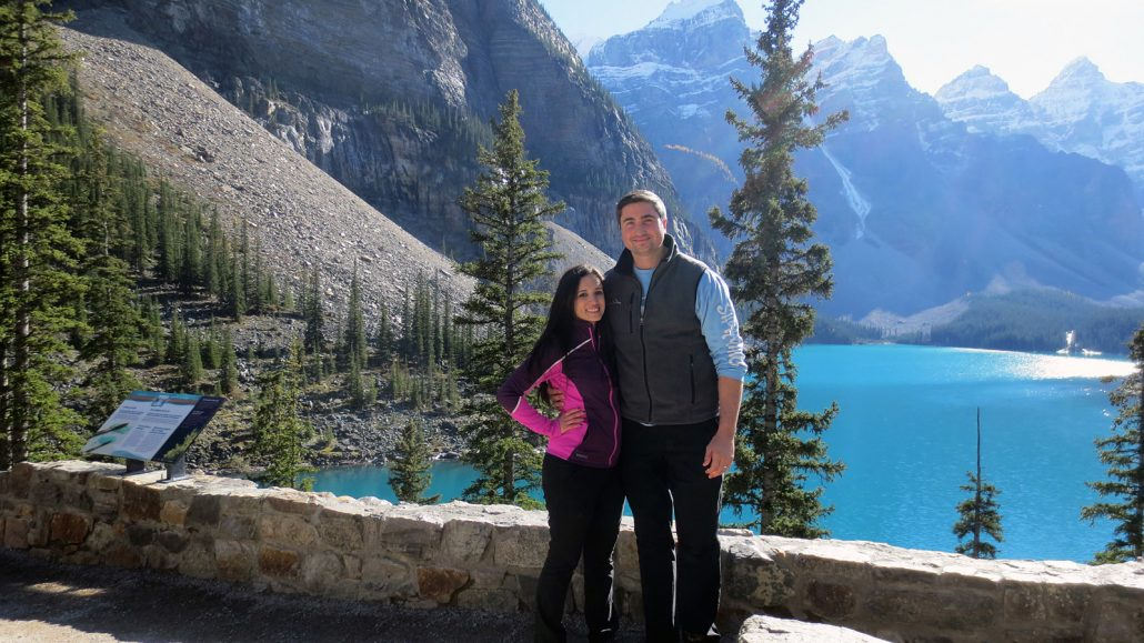 Enjoying these special moments in Moraine Lake