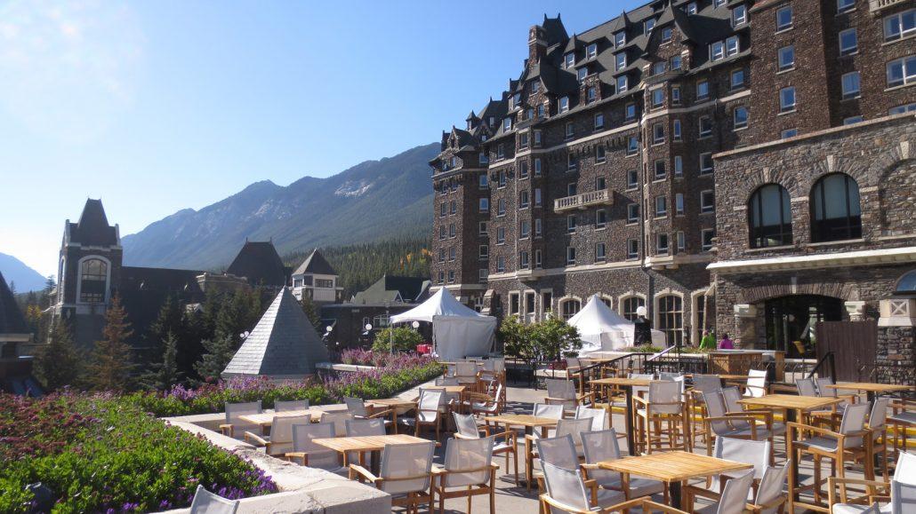 patio area fairmont banff springs hotel