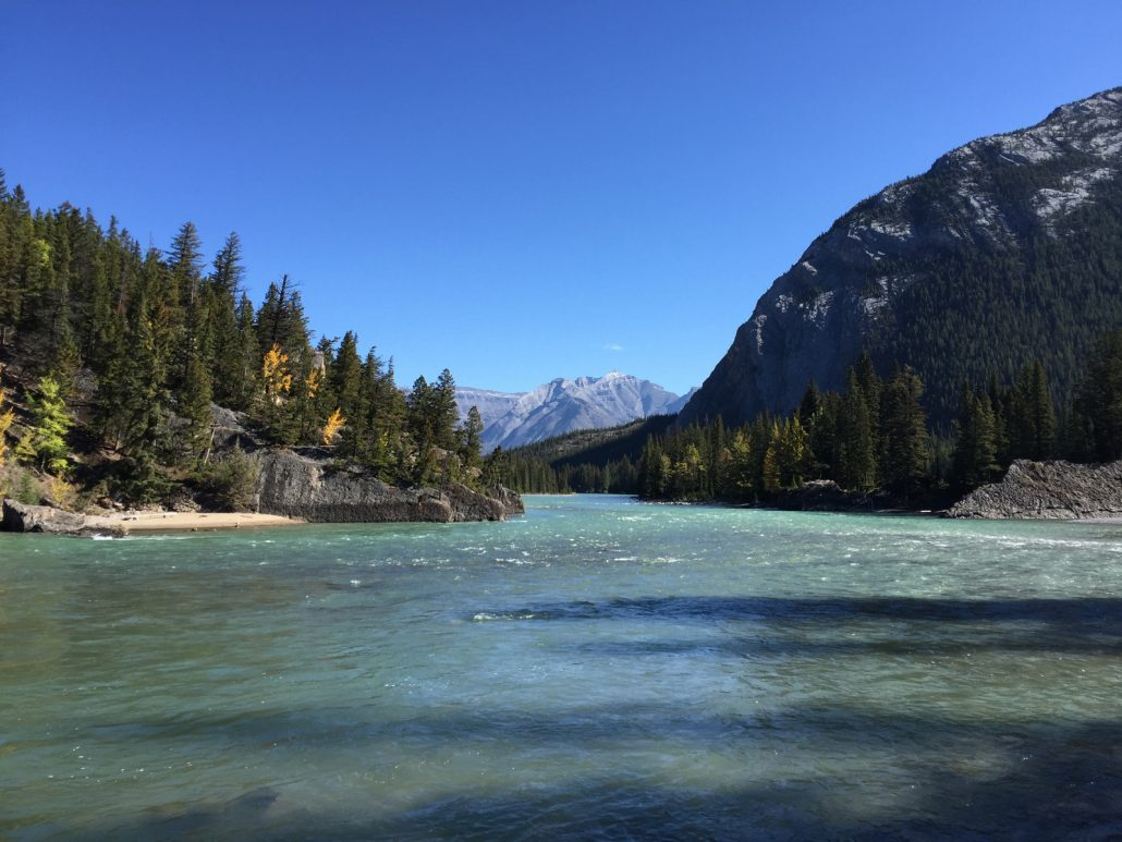 river just outside the fairmont banff springs hotel