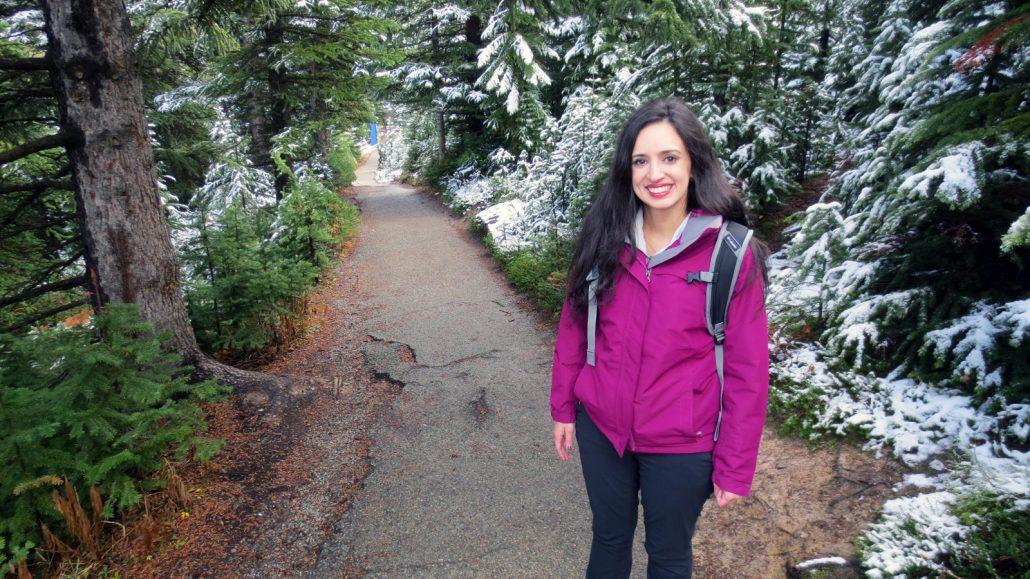 walking the trail to get to Peyto Lake