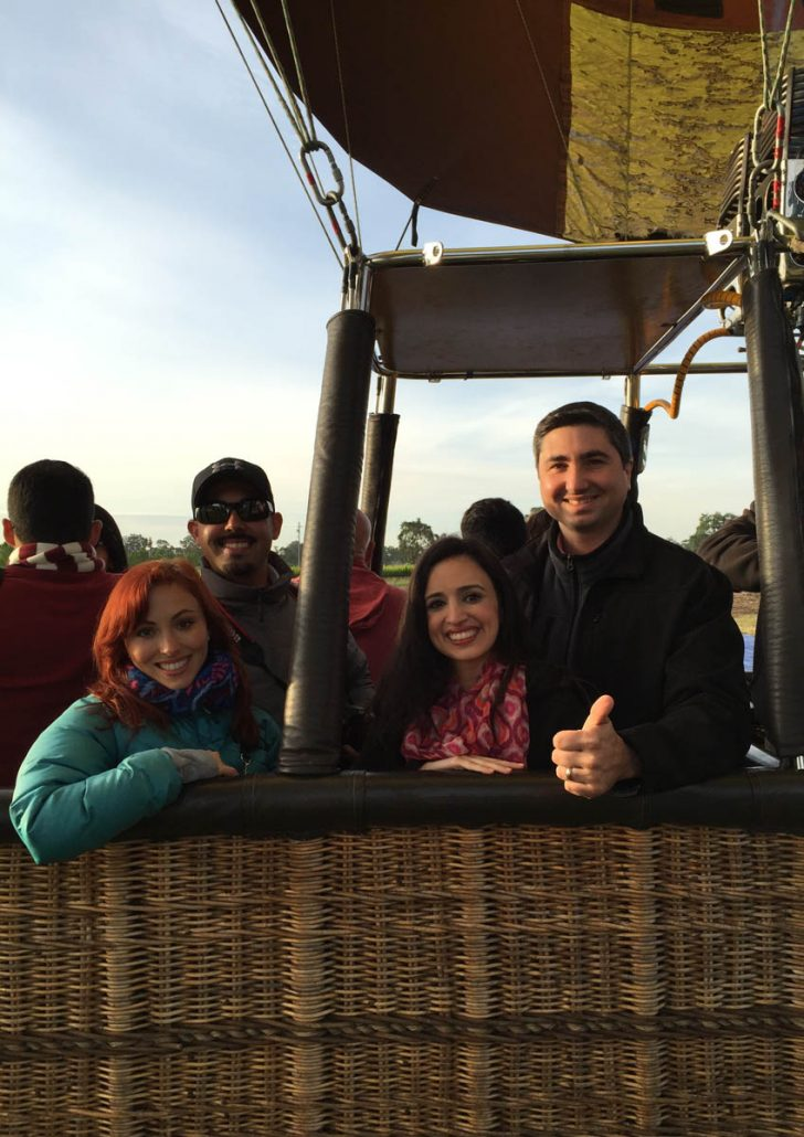 Ready for our hot air balloon ride in Napa Valley